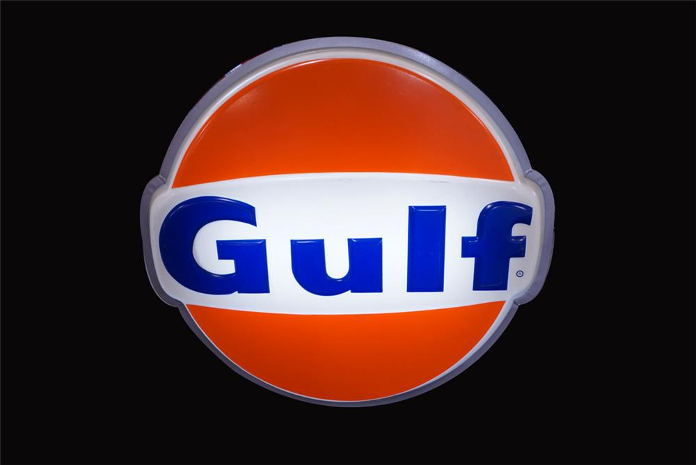 Sharp 1960s Gulf Oil single-sided light-up service station sign. - Front 3/4 - 192194