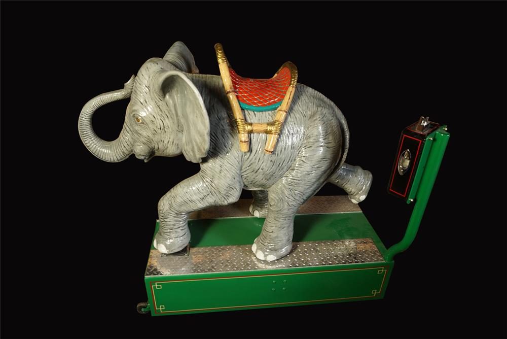 Phenomenal 1953 restored coin-operated Elephant kiddy ride. - Front 3/4 - 192208