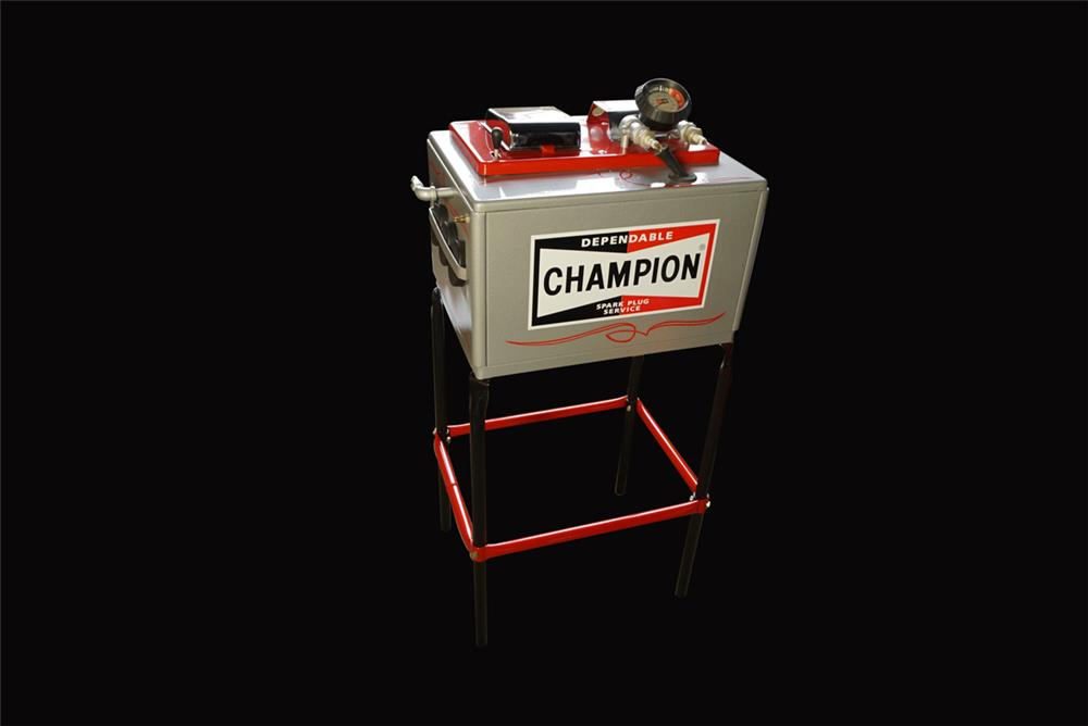 Nicely restored 1950s Champion spark plug tester/cleaner on stand. - Front 3/4 - 192212