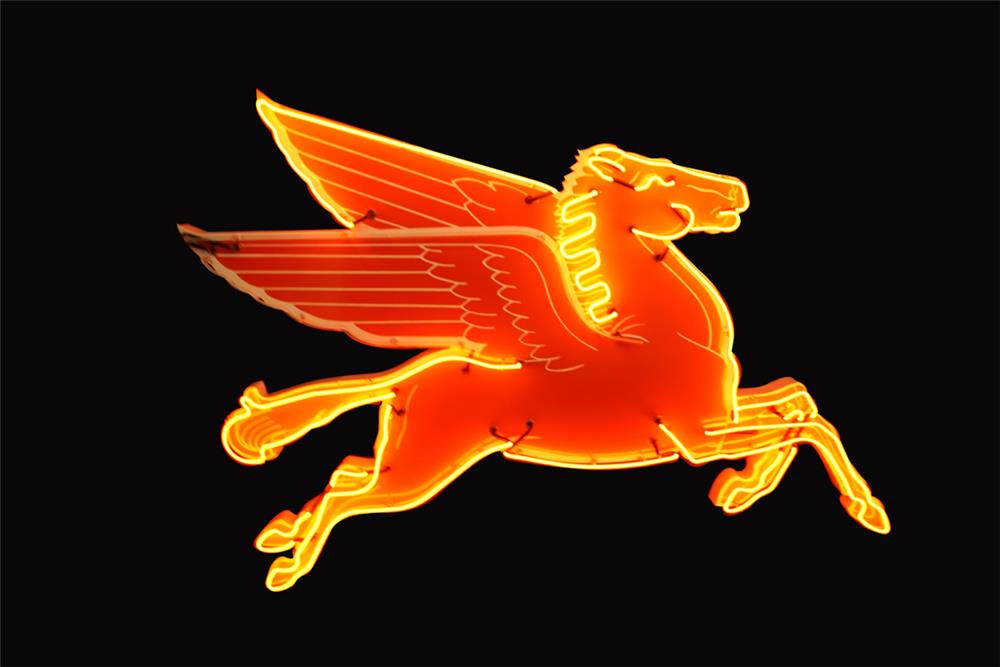 Killer circa 1950s Mobil Oil service station porcelain Pegasus sign with animated neon. - Front 3/4 - 192224