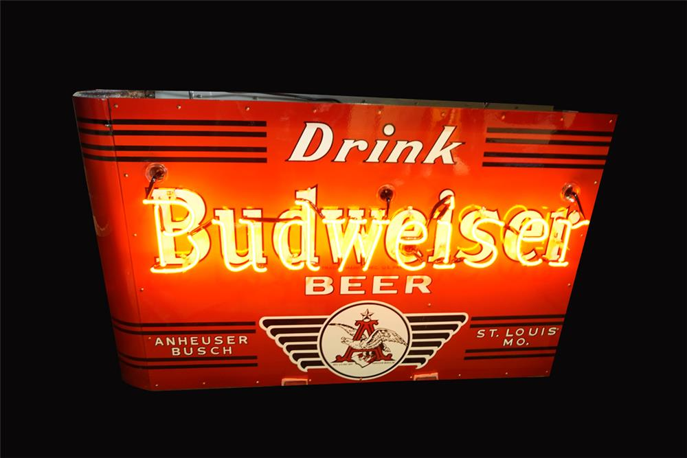 Incredible 1930s Drink Budweiser Beer double-sided neon porcelain sign - Front 3/4 - 192225