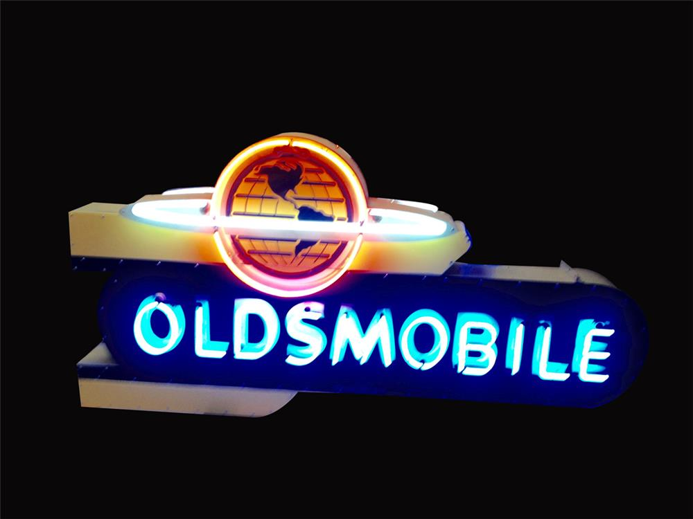Absolutely gorgeous early 1950s Oldsmobile double-sided neon porcelain dealership sign - Front 3/4 - 192228