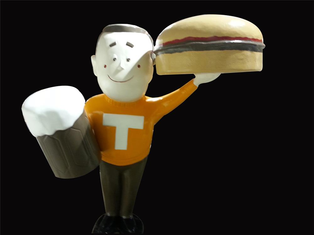 """Neat large 1960s A & W Root Beer three-dimensional drive-in statue of """"Teen"""" - Front 3/4 - 192231"""