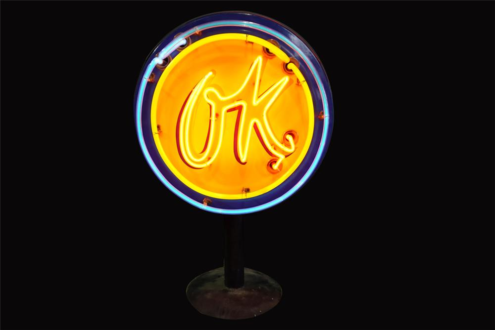 Neat 1950s Chevrolet OK Used Cars single-sided neon porcelain dealership sign on stand. - Front 3/4 - 192232