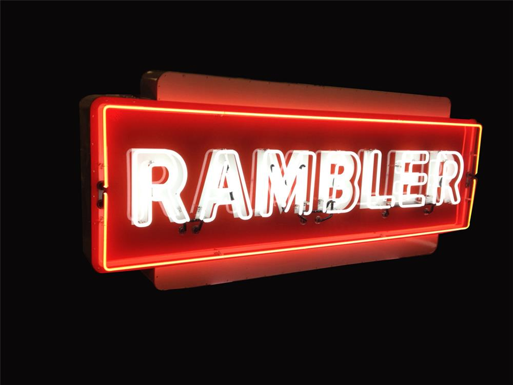 Uncommon Rambler Automobiles single-sided neon porcelain dealership sign. - Front 3/4 - 192234