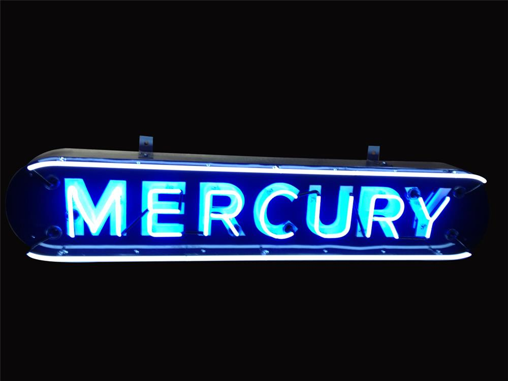 Beautifully restored 1930s-40s Mercury Automobiles single-sided neon porcelain dealership sign. - Front 3/4 - 192235
