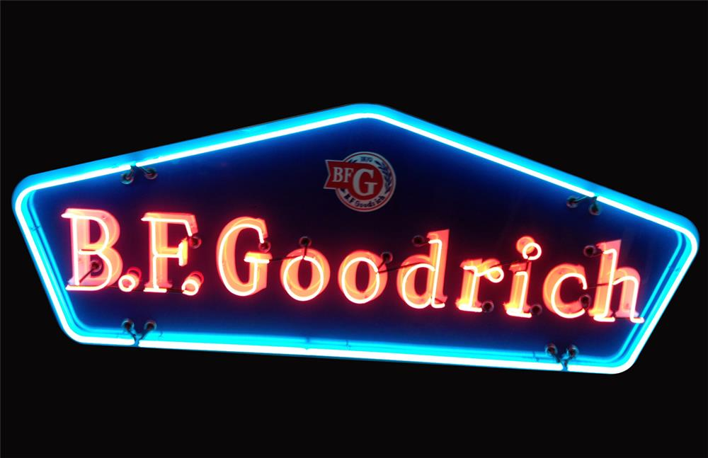 Colorful Large BF Goodrich single-sided neon porcelain automotive garage sign. - Front 3/4 - 192237