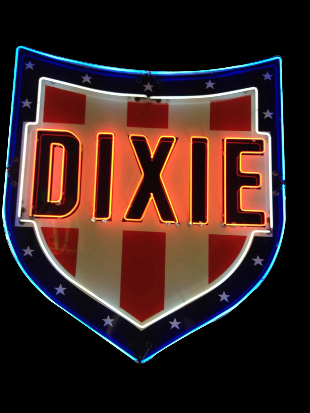 Impressive 1950s Dixie Gasoline single-sided porcelain with neon service station sign. - Front 3/4 - 192240