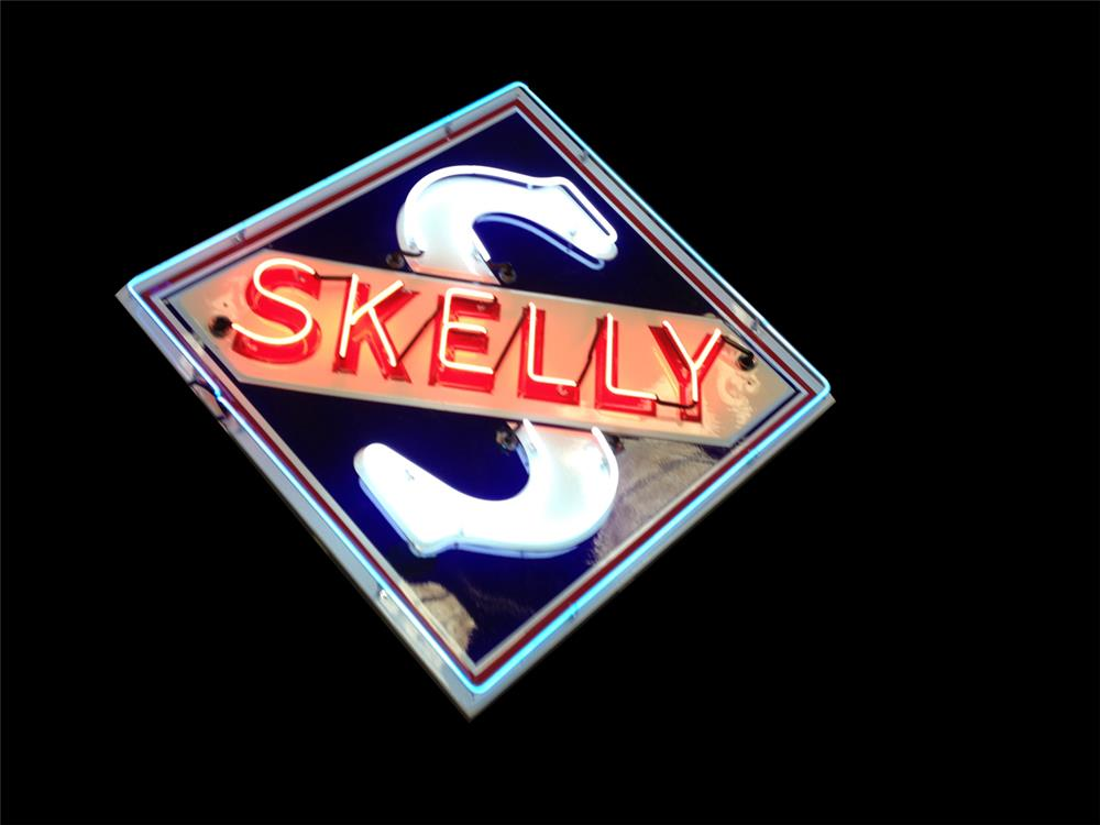 Marvelous circa 1940s-50s Skelly Oil single-sided neon porcelain service station sign - Front 3/4 - 192241