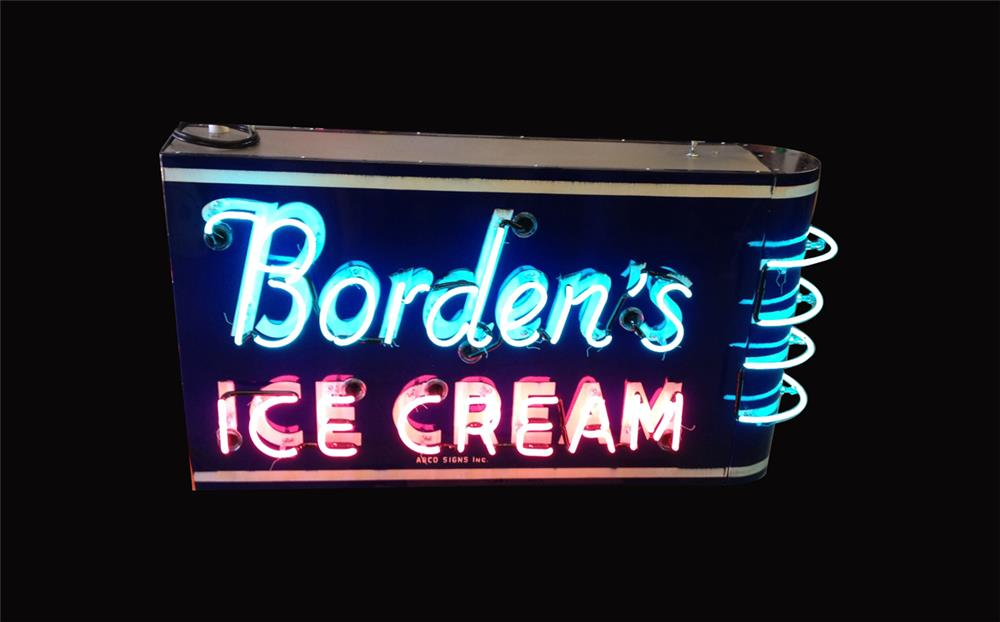 Stupendous 1940s-50s Borden's Ice Cream double-sided neon porcelain ice cream parlor sign. - Front 3/4 - 192242