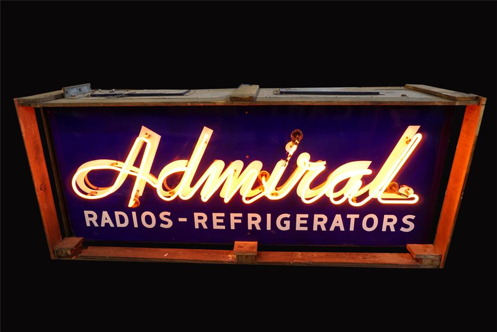 Very clean 1950s Admiral Radios - Refrigerators double-sided neon porcelain sign still in the original shipping crate. - Front 3/4 - 192244