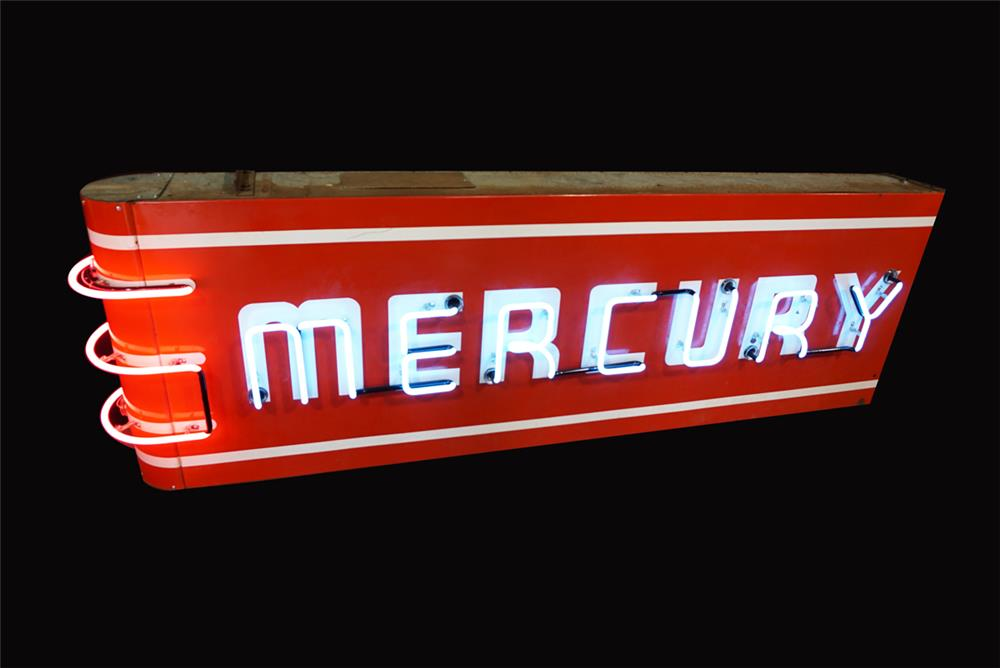 Very clean 1940s-50s Mercury Automobiles double-sided neon porcelain automotive garage sign. - Front 3/4 - 192248