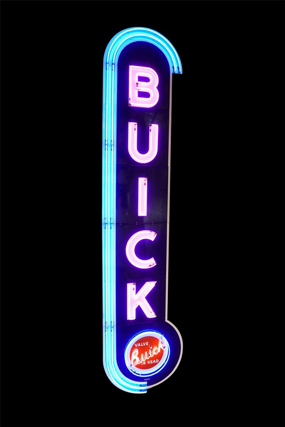 Magnificent 1940s-50s Buick Automobiles single-sided neon porcelain dealership sign. - Front 3/4 - 192254