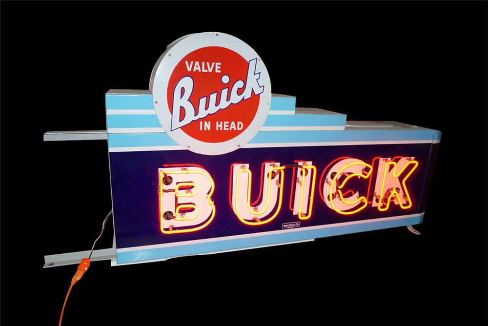 Striking 1940s-50s Buick Valve in Head double-sided porcelain dealership sign. - Front 3/4 - 192257