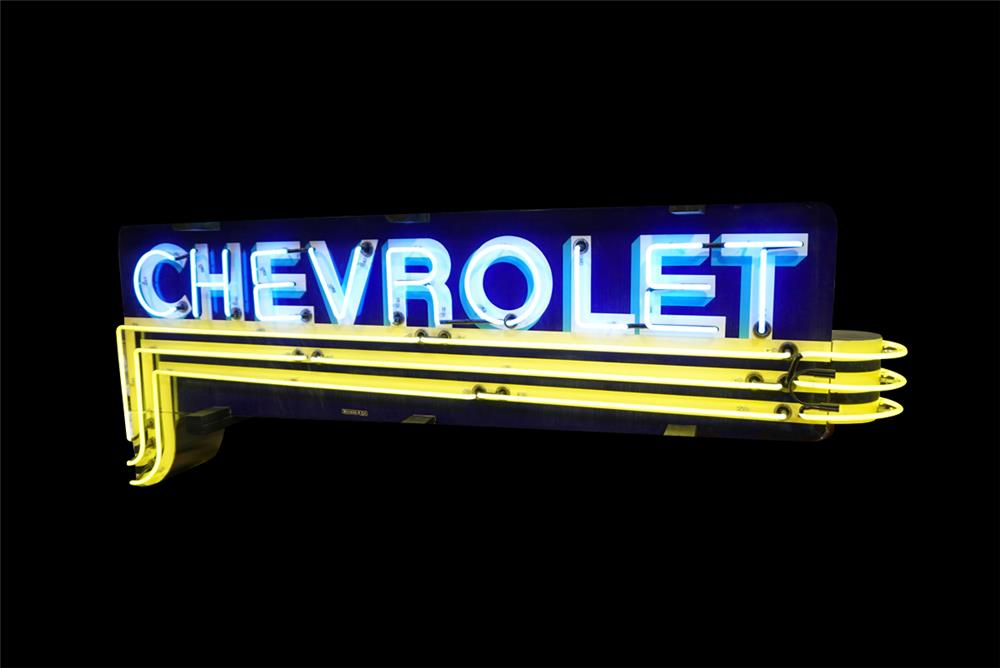 Highly sought after circa 1940s-50s Chevrolet Automobiles double-sided neon porcelain dealership sign. - Front 3/4 - 192258