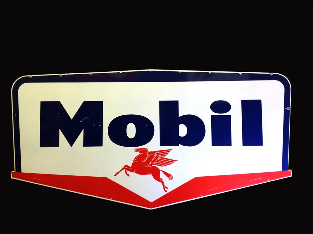 Large late 1950s Mobil Oil double-sided porcelain service station sign - Front 3/4 - 192272