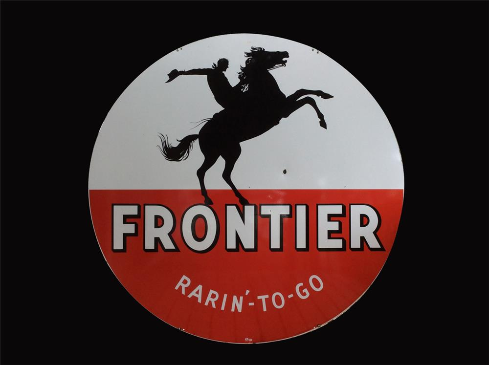 """Very desirable 1950s Frontier Gasoline """"Rarin'-To-Go"""" porcelain service station sign. - Front 3/4 - 192273"""