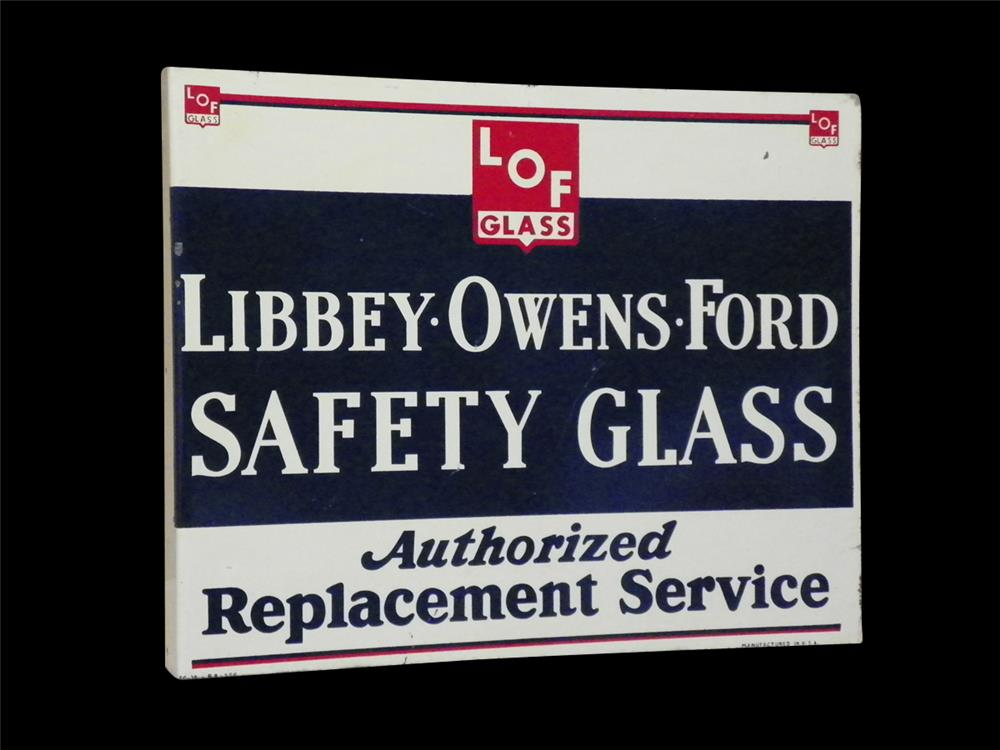Fantastic circa 1940s Libbey-Owens-Ford Safety Glass double-sided tin automotive garage flange sign. - Front 3/4 - 192279