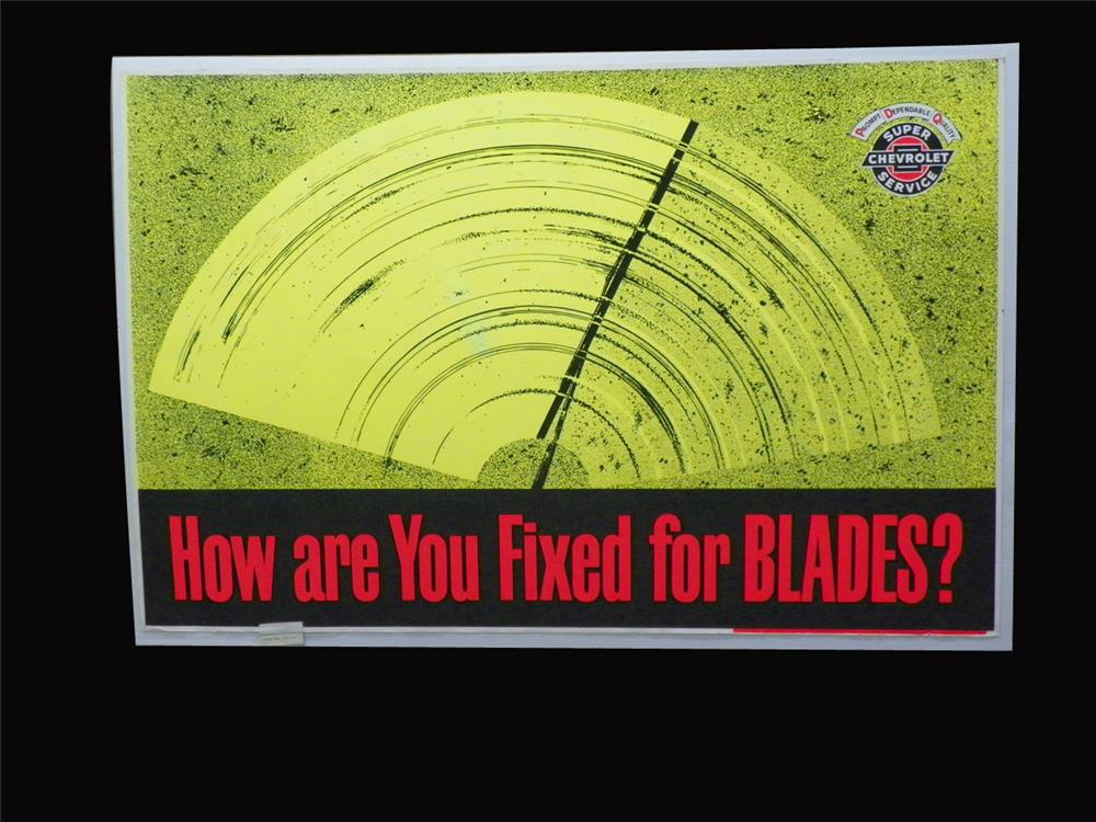 "NOS 1967 Chevrolet Service Department ""How are You Fixed for Blades"" display poster. - Front 3/4 - 192281"