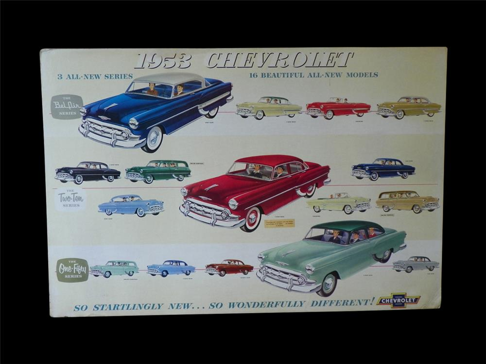 1953 Chevrolet full line showroom sales display cardboard sign. - Front 3/4 - 192288