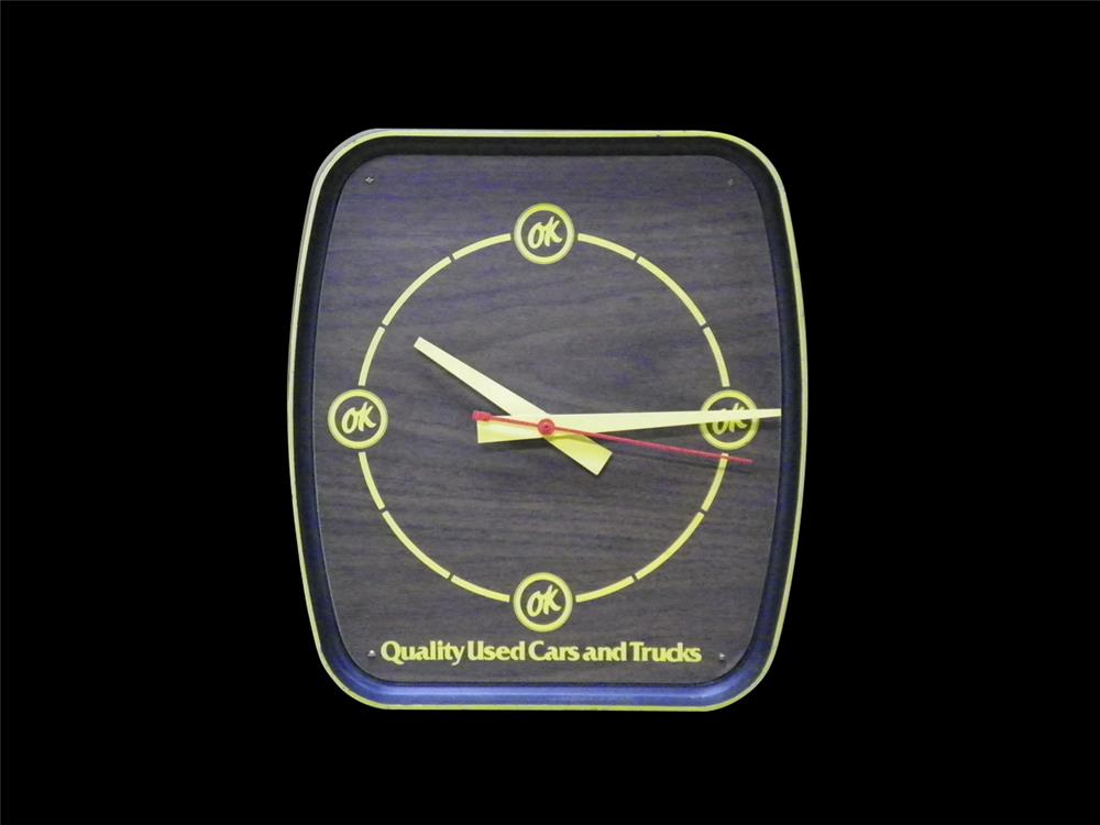 1960s Chevrolet OK Used Cars and Trucks showroom sales wall clock. - Front 3/4 - 192292