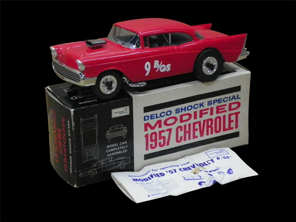 NOS 1957 Chevrolet Delco Shock Special promotional wind-up motor car still in the original box. - Front 3/4 - 192295
