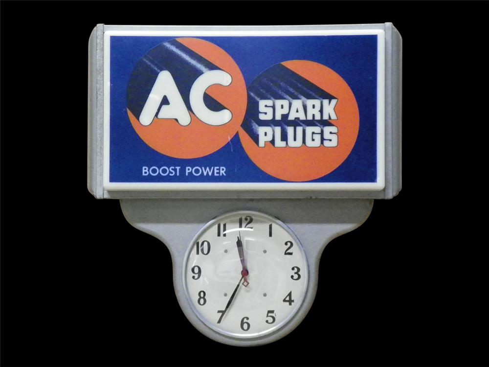 1950s AC Spark Plugs automotive garage clock with lighted advertising panel - Front 3/4 - 192300