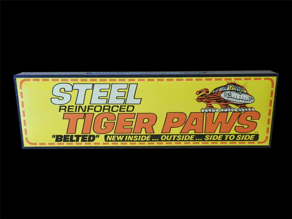 Original late 1960s Steel Belted Tiger Paws Tires lighted showroom display sign. - Front 3/4 - 192301