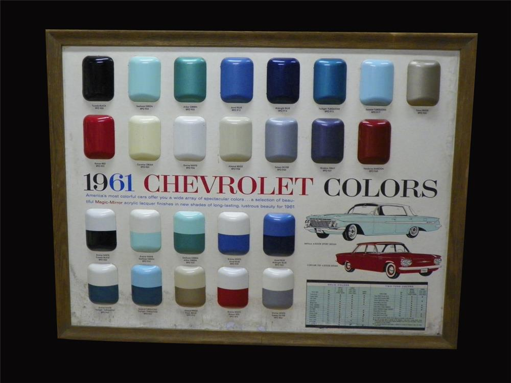 Choice 1961 Chevrolet showroom sales paint color display piece. - Front 3/4 - 192313