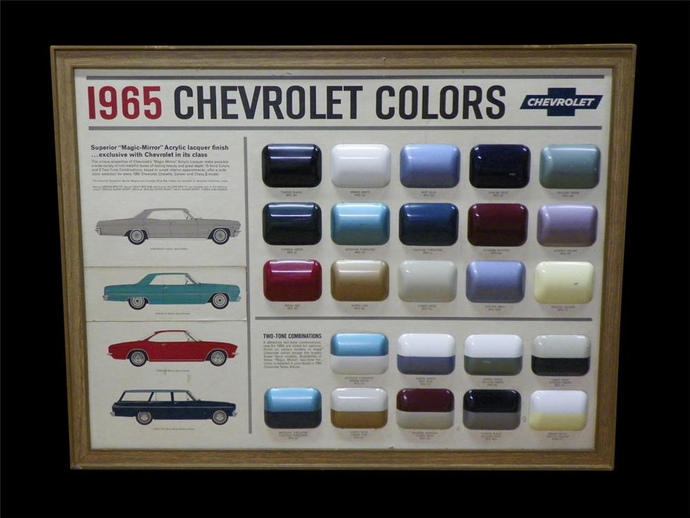 Exquisite 1965 Chervolet Colors showroom sales paint display piece. - Front 3/4 - 192315