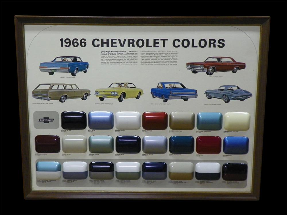 Extremely rare 1966 Chevrolet Colors showroom sales paint display piece. - Front 3/4 - 192316