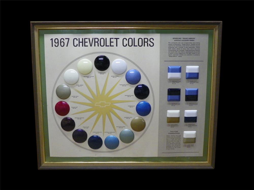 Magnificent 1967 Chevrolet Colors showroom sales paint display piece. - Front 3/4 - 192317