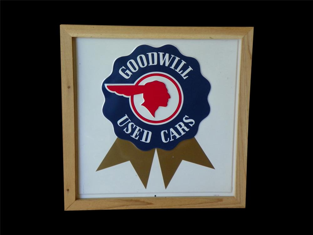 Original NOS 1954 Pontiac Goodwill Used Cars embossed metal dealers sign. - Front 3/4 - 192321
