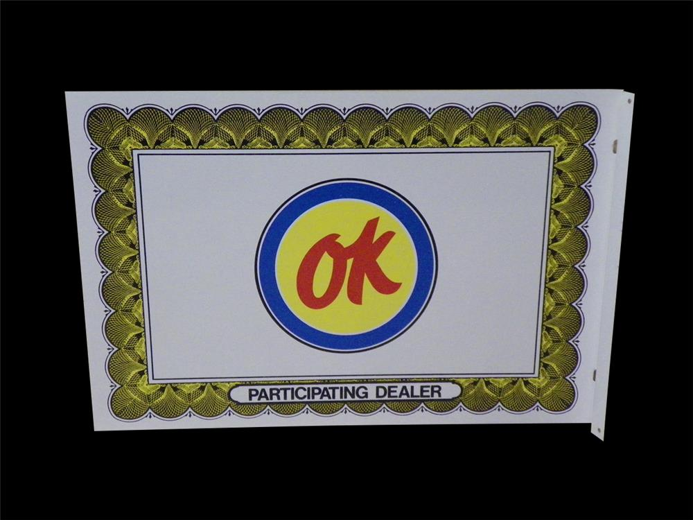 NOS 1960s Chevrolet OK Used Cars dealership tin flange sign. - Front 3/4 - 192322