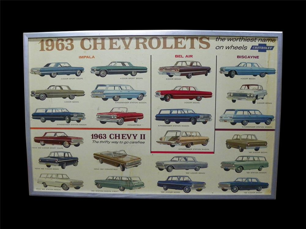 Wonderful 1963 Chevrolets full line showroom sales cardboard display poster with new frame. - Front 3/4 - 192323