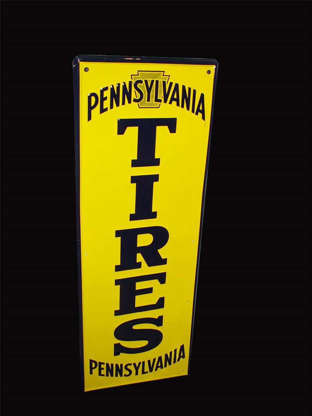 NOS 1940s Pennsylvania Tires vertical embossed tin garage sign with Keystone logo. - Front 3/4 - 192324
