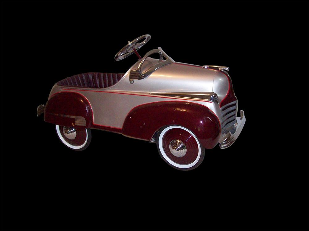 Stylish 1941 Chrysler Deluxe model restored pedal car. - Front 3/4 - 192327