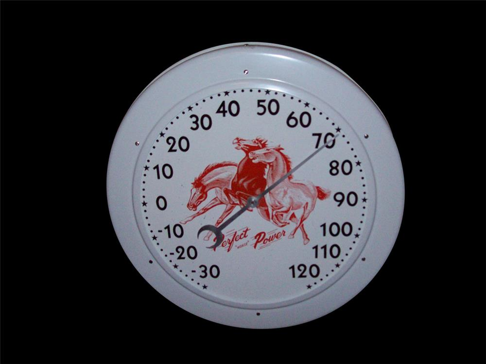 Interesting Perfect Power Piston Rings automotive garage thermometer with Mustang motif. - Front 3/4 - 192334