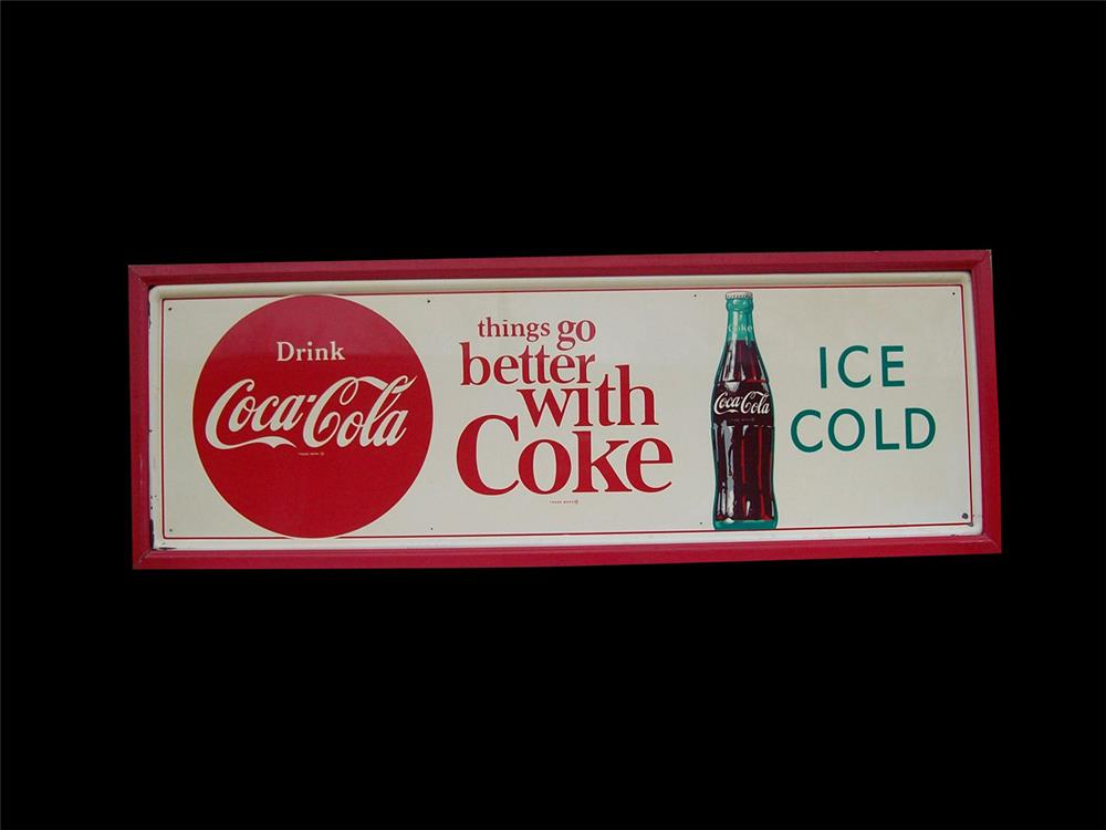 Exceptional late-1950s Drink Coca-Cola horizontal tin sign. - Front 3/4 - 192338
