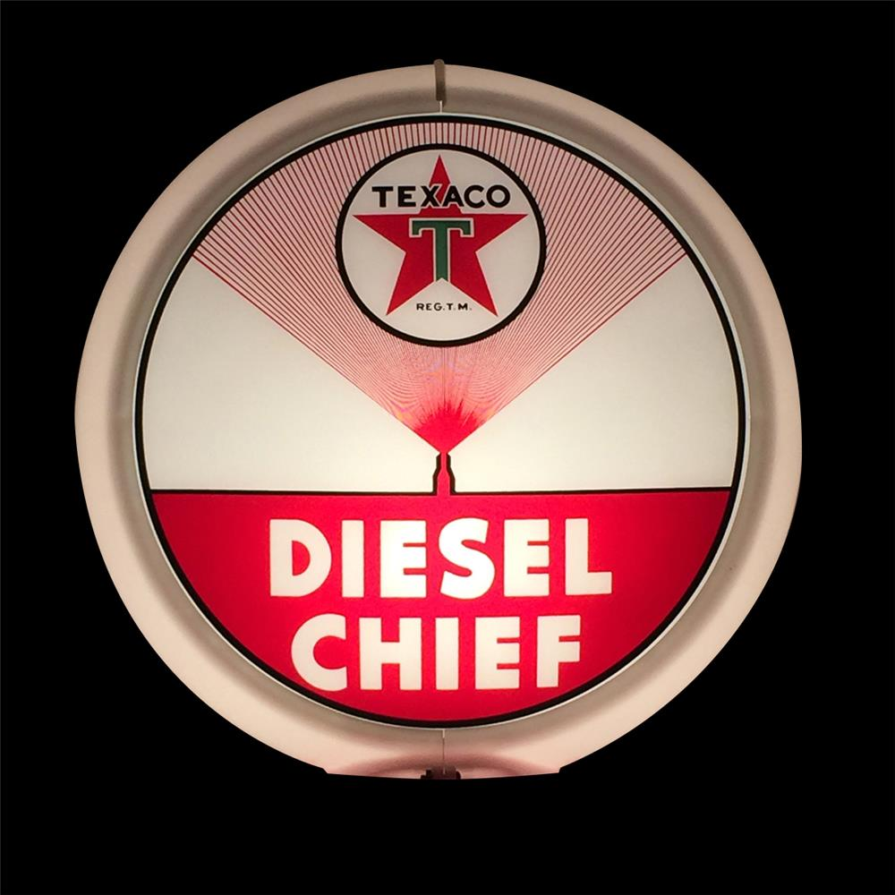 Highly prized NOS circa 1948 Texaco Diesel Chief Fuel globe in a Capcolite body. - Front 3/4 - 192344