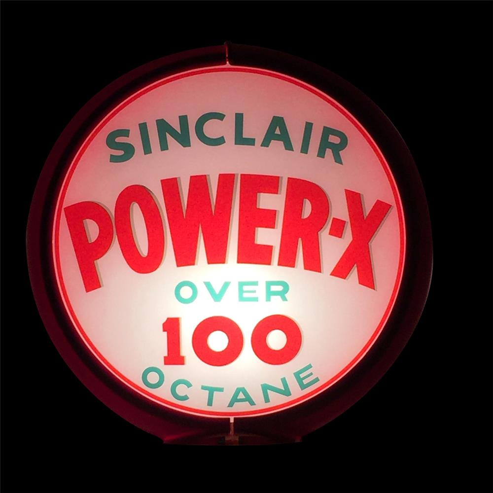 "Early 1950s Sinclair Power X ""Over 100 Octane"" gas pump globe in a Capcolite body. - Front 3/4 - 192345"
