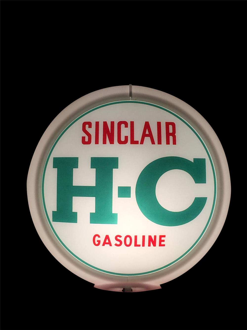 Circa 1940s H-C Sinclair narrow bodied glass gas pump globe. - Front 3/4 - 192350