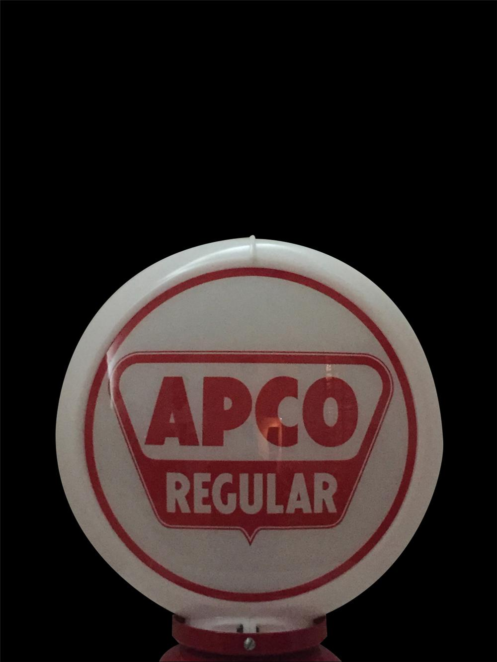 Late 1950s Apco Regular Gasoline gas pump globe in a Capcolite body. - Front 3/4 - 192352