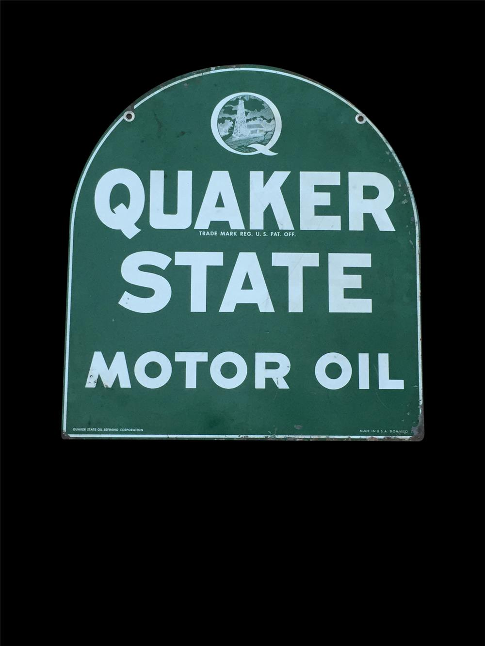 Quaker State Motor Oil double-sided tin service station sign with oil derrick logo. - Front 3/4 - 192358