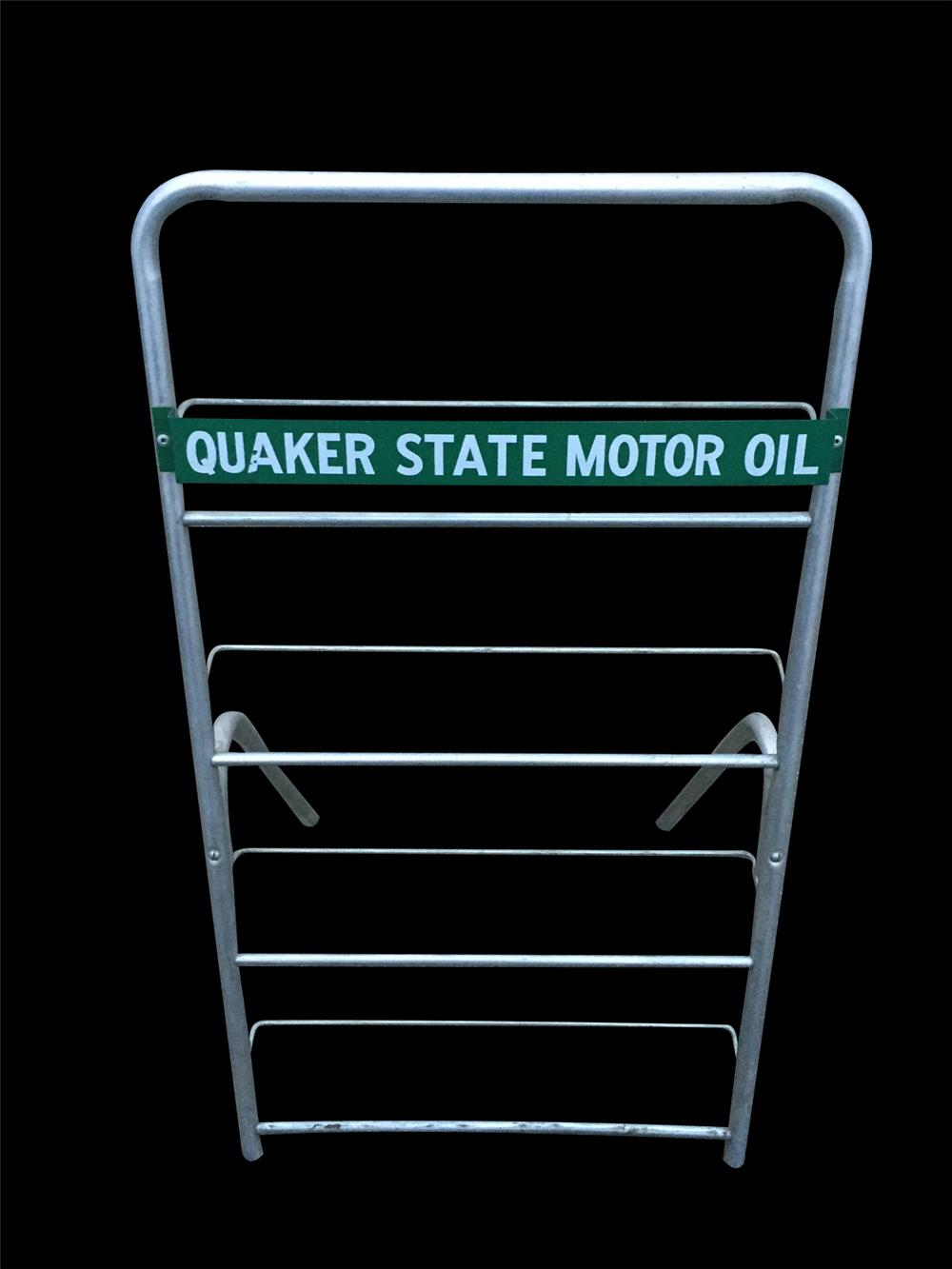 Choice 1950s Quaker State Motor Oil service station fuel island 24-quart can display rack. - Front 3/4 - 192360