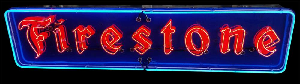 Late 30s-early 40s Firestone Tires single-sided neon porcelain automotive garage sign. - Front 3/4 - 192364