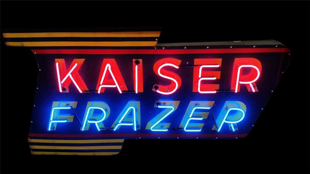 Marvelous late 1940s-early 50s Kaiser-Frazer neon porcelain dealership sign. - Front 3/4 - 192365