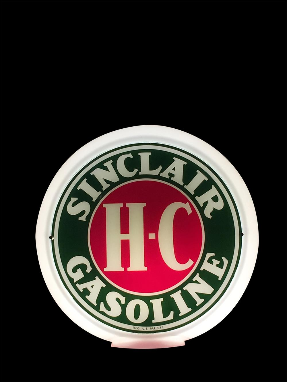 NOS 1950s HC Sinclair Gasoline gas pump globe in a Capcolite body. - Front 3/4 - 192366