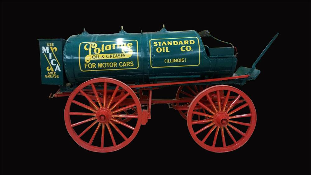 Museum quality 1900s Standard Polarine oil horse drawn fuel wagon. - Front 3/4 - 192386