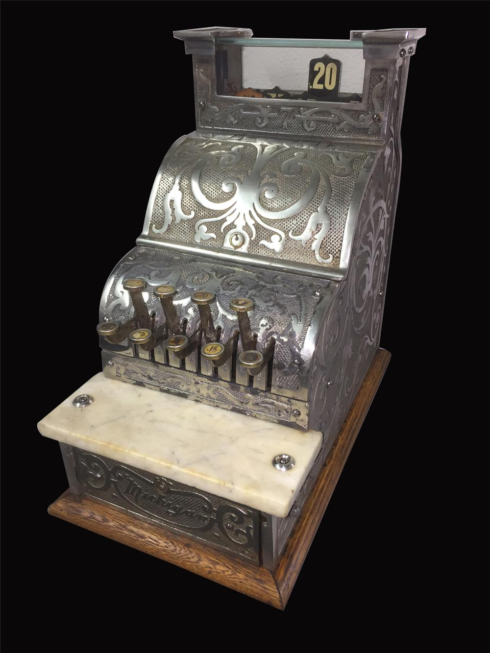 Turn of the century Michigan cash register possibly nickel plated. - Front 3/4 - 192395